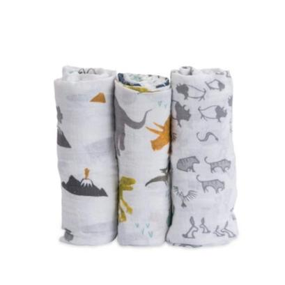 Little Unicorn Katoenen Muslin Set 3 Swaddles 120x120cm | Dino Friends