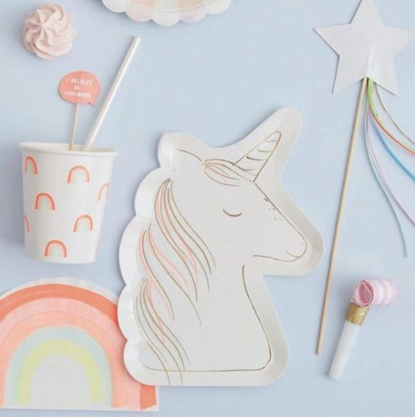 Meri Meri set 8 kartonnen bordjes Unicorn