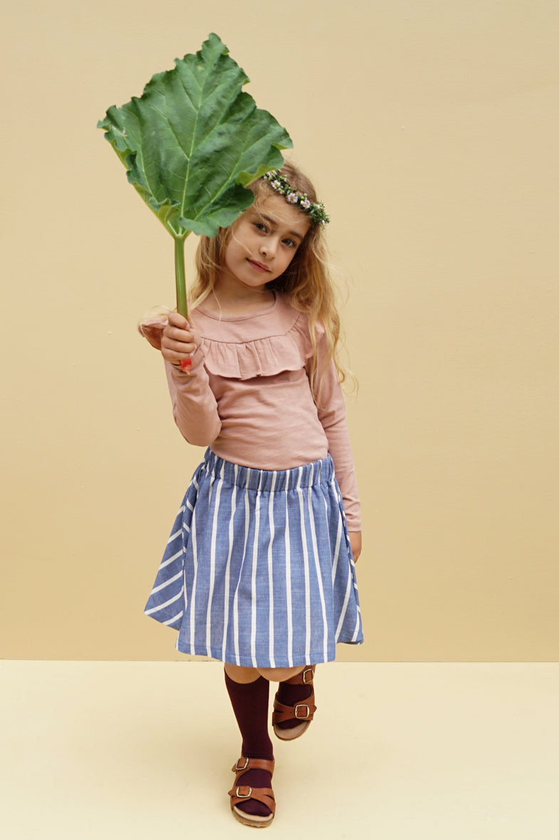 Krutter Emma Skirt | Blue Stripe