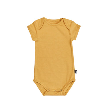 Mies & Co Bodysuit Romper Korte Mouw | Uni Honey Mustard