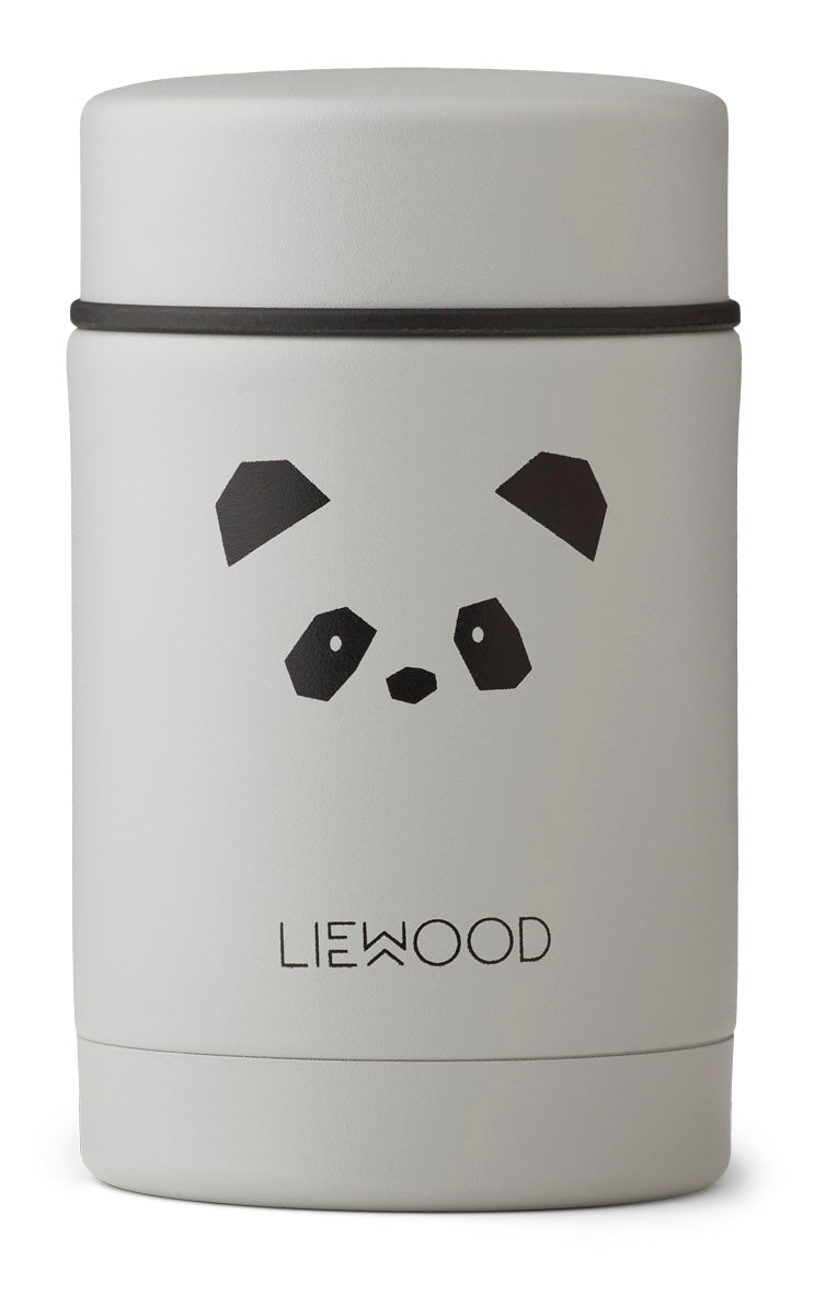 Liewood Nadja Food Jar | Panda Light Grey