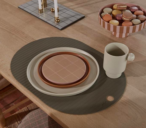OYOY Siliconen Set 2 Placemats Ribbo - Olive