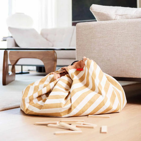 Play and go Opbergzak | speelmat Stripes Mustard
