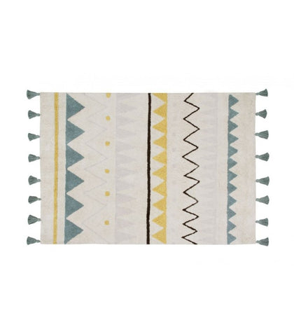 Lorena Canals machinewasbaar tapijt 140x200cm Azteca Natural Vintage Blue Large