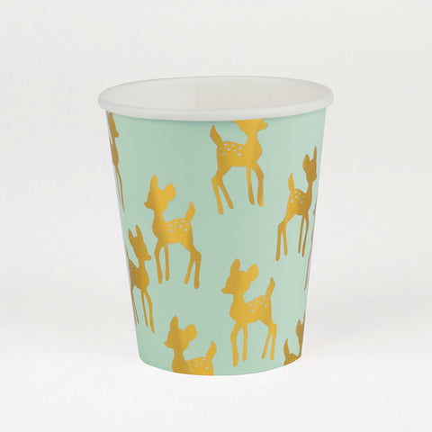 Set 8 kartonnen bekertjes golden fawns