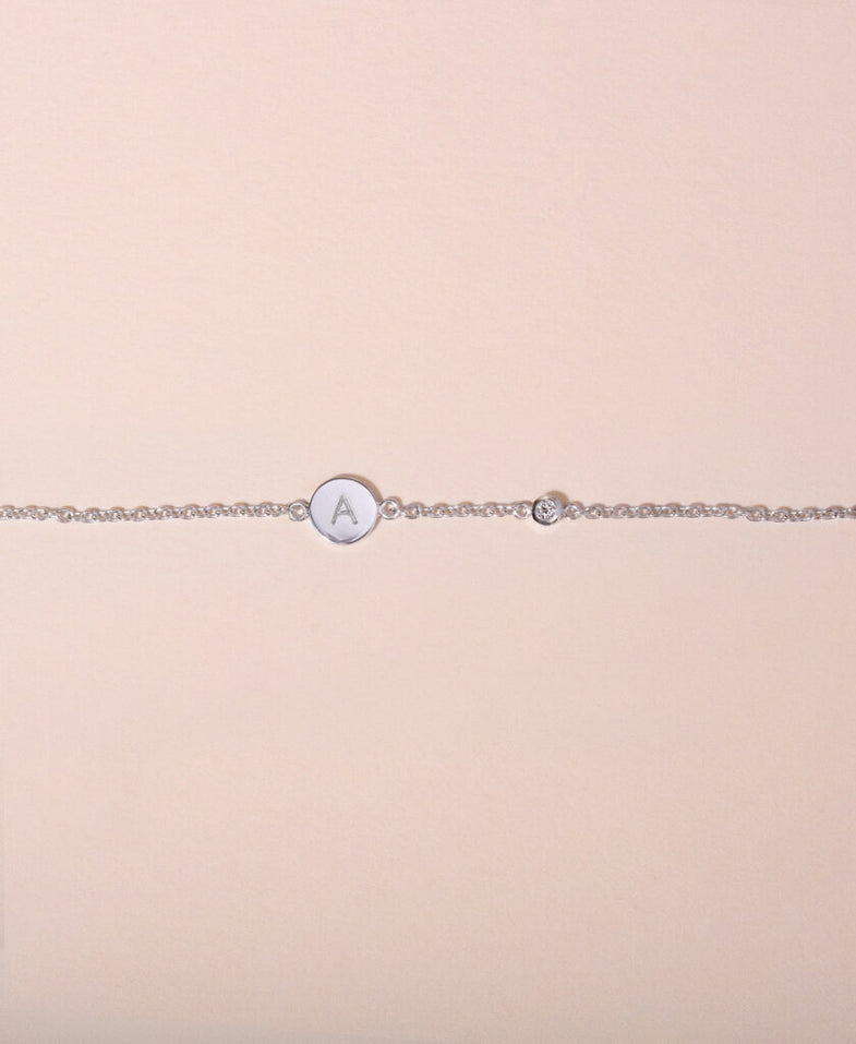 Galore Gepersonaliseerde Armband Circle & Diamond | Zilver Petite