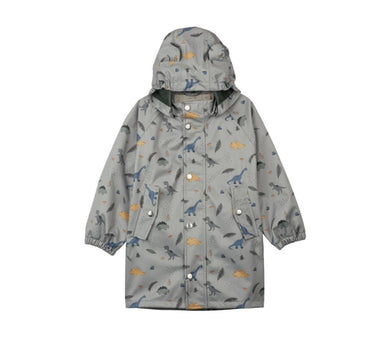 Liewood Blake Long Raincoat | Dino Dove Blue Mix