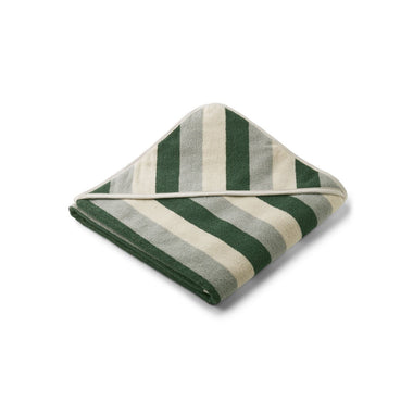 Liewood Louie Badcape | Stripe Garden Green/ Sandy/ Dove Blue