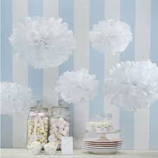 Set 5 pompons Metallic white - DE GELE FLAMINGO