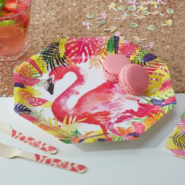 Set 8 kartonnen bordjes Tropical flamingo - DE GELE FLAMINGO - Kids concept store