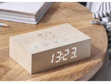 Gingko Flip Click Clock | White Maple