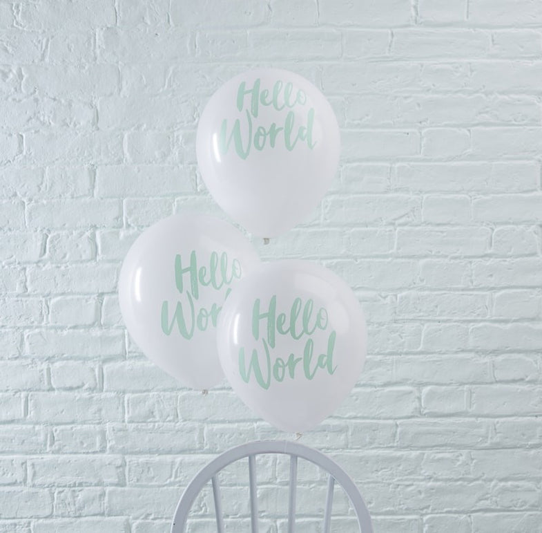 Set 10 ballonnen Hello World mint - DE GELE FLAMINGO - Kids concept store