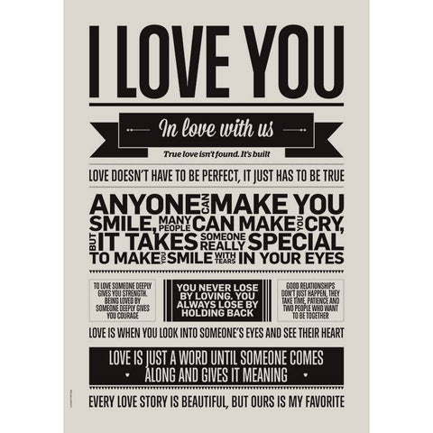 I love my type poster 50x70cm - I love you - Grey