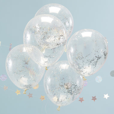Set 5 ballonnen Confetti Holographic Jolly Vibes
