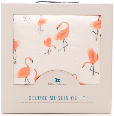 Little Unicorn Katoenen Muslin Swaddle 120x120cm | Flamingo