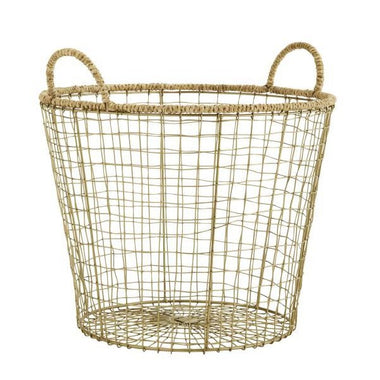 Madam Stoltz Wire Basket | Jute