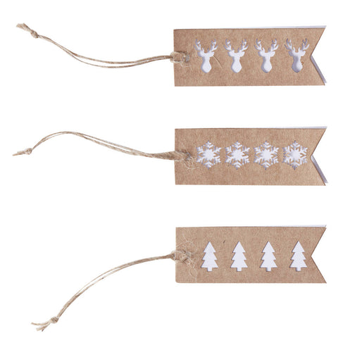 Set van 9 cadeau labels Snowflake
