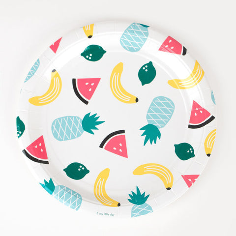 Set 8 kartonnen bordjes Fruity - DE GELE FLAMINGO - Kids concept store