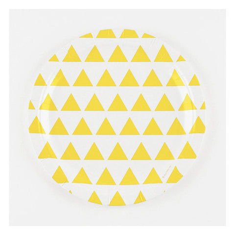 Set 8 kartonnen bordjes yellow triangles - DE GELE FLAMINGO - 1