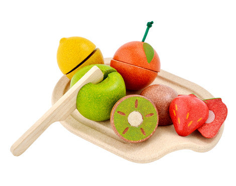 Plantoys houten fruit assortiment - DE GELE FLAMINGO - 1