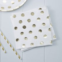 Set 20 papieren servetten Polka dot gold - DE GELE FLAMINGO - 1