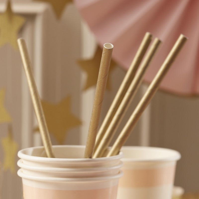 Set 25 papieren rietjes Gold perfection - DE GELE FLAMINGO