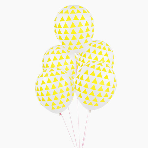 Set 5 ballonnen Yellow Triangles