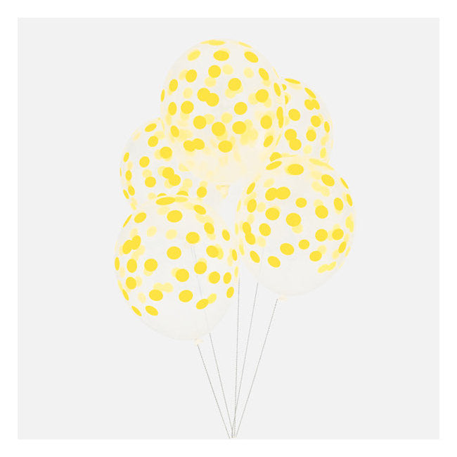 Set 5 ballonnen Confetti Yellow - DE GELE FLAMINGO - 2