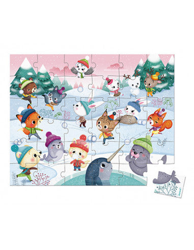 Janod koffer puzzel 36st - Snow Party