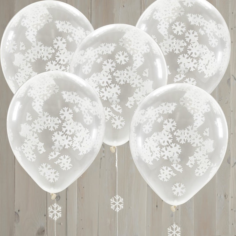 Set 5 ballonnen Snowflake Shaped - Rustic Christmas