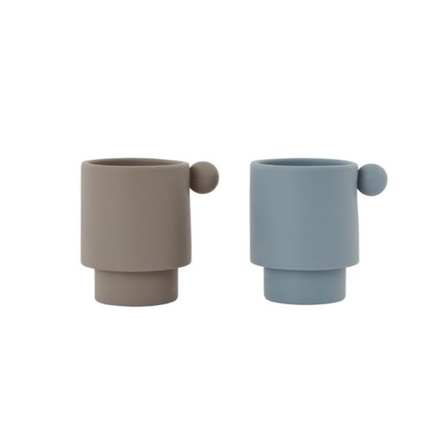 Oyoy Tiny Inka Siliconen Beker Set van 2 | Dusty Blue/ Clay