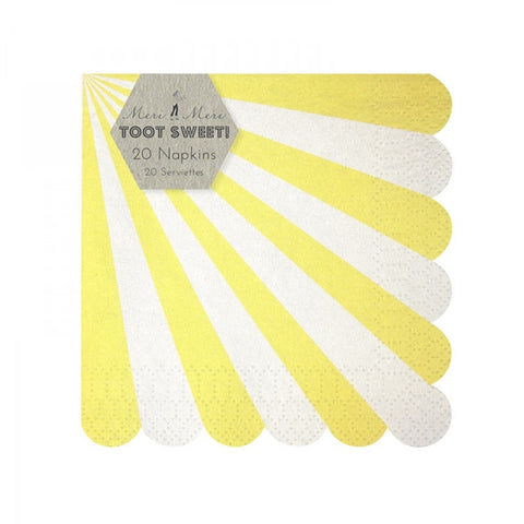 Meri Meri Set 20 papieren servetten klein Stripes yellow - DE GELE FLAMINGO - 1