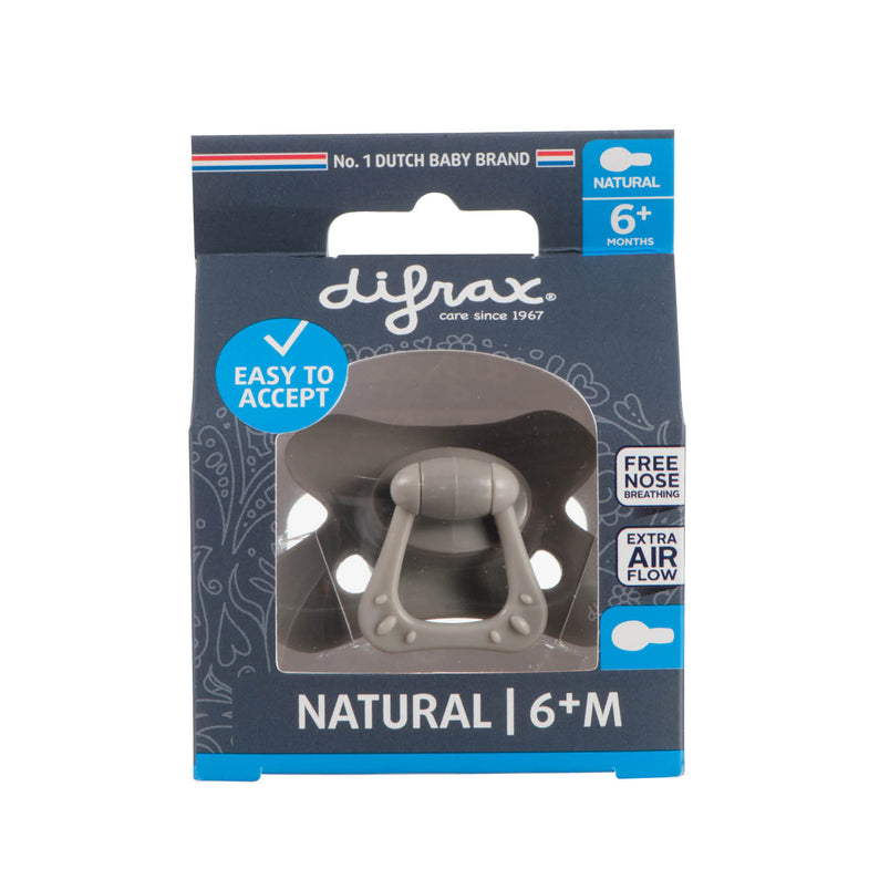 Difrax Fopspeen Natural Rond Siliconen 6+m | Clay