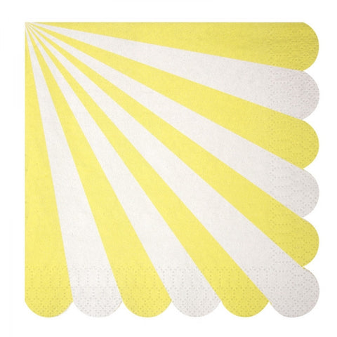 Meri Meri Set 20 papieren servetten Stripes yellow - DE GELE FLAMINGO - 1