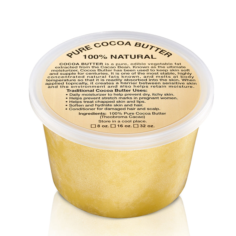 32oz JAR: PURE NATURAL RAW COCOA BUTTER (AFRICAN)