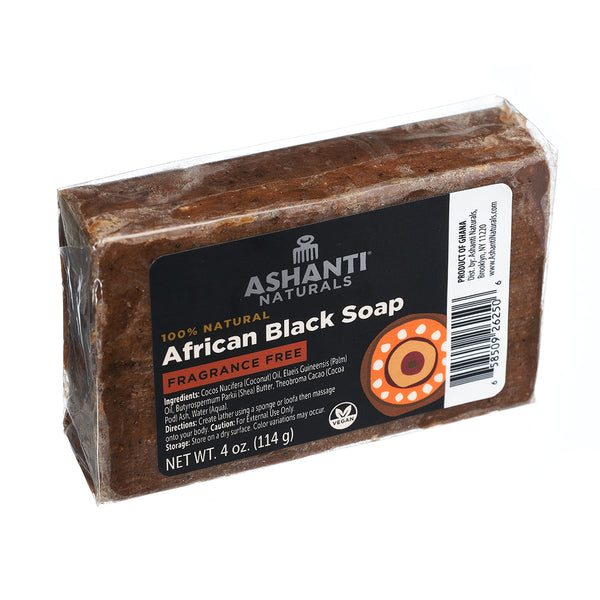 ASHANTI - AFRICAN BLACK SOAP BAR - 4 OZ- FRAGRANCE FREE