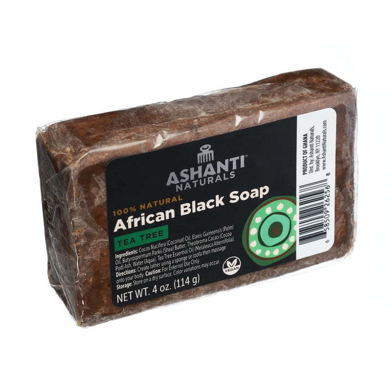 ASHANTI - AFRICAN BLACK SOAP BAR - 4 OZ- TEA TREE