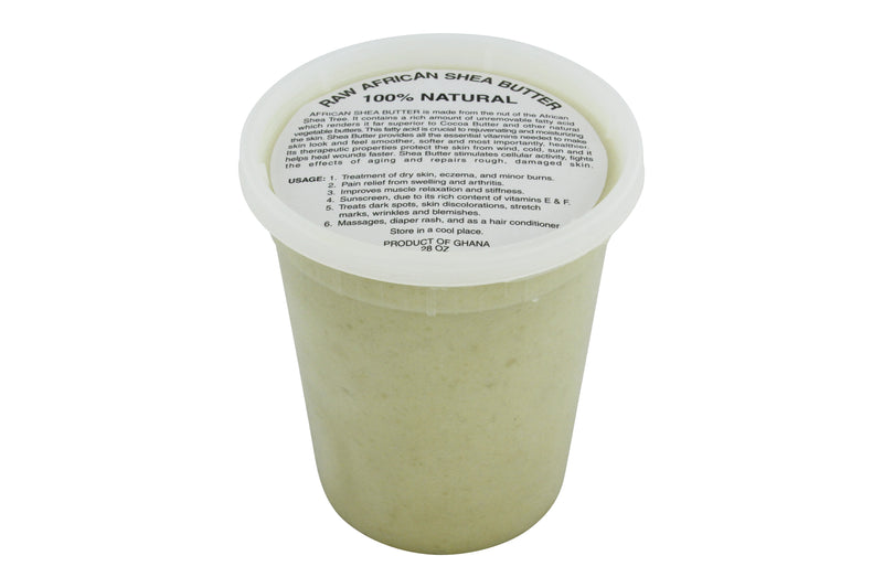 PURE NATURAL WHITE AFRICAN SHEA BUTTER FROM AFRICA: 28oz JAR