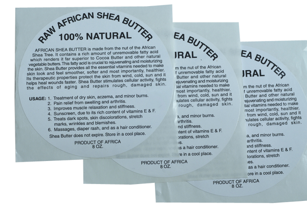 8oz: 100% PURE RAW WHITE SHEA BUTTER LABEL WHOLESALE