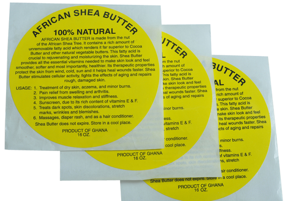 15oz: 100% NATURAL YELLOW SHEA BUTTER LABEL (50 PCS): WHOLESALE