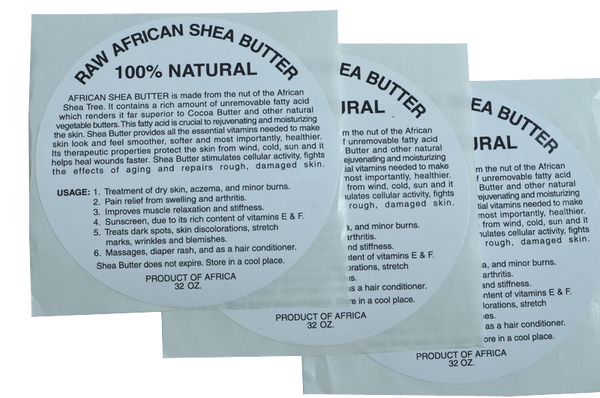 28oz: 100% PURE RAW WHITE SHEA BUTTER LABEL (50 PCS): WHOLESALE