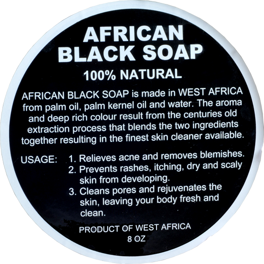 RAW AFRICAN BLACK SOAP LABEL (50 PCS-WHOLESALE): 8oz