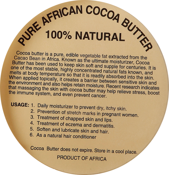100% PURE NATURAL AFRICAN COCOA BUTTER LABELS
