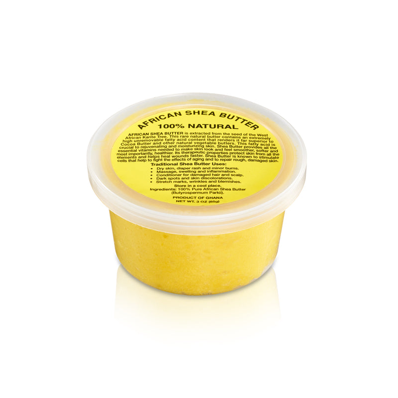 PURE NATURAL YELLOW AFRICAN SHEA BUTTER FROM AFRICA: 3oz JAR