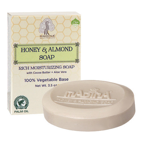 HONEY & ALMOND AFRICAN BLACK SOAP BY MADINA (6 PCS)