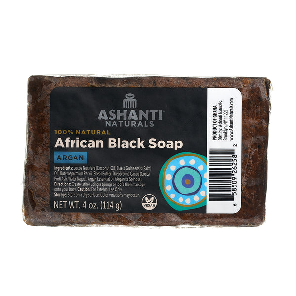 ASHANTI - AFRICAN BLACK SOAP BAR - 4 OZ- ARGAN OIL