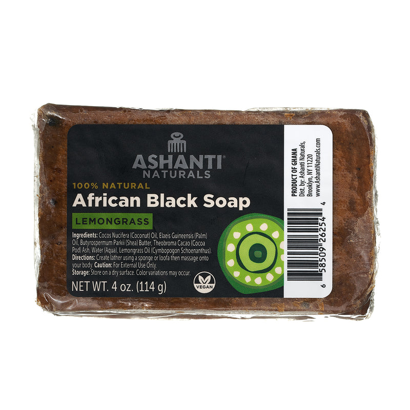 ASHANTI - AFRICAN BLACK SOAP BAR - 4 OZ- LEMONGRASS
