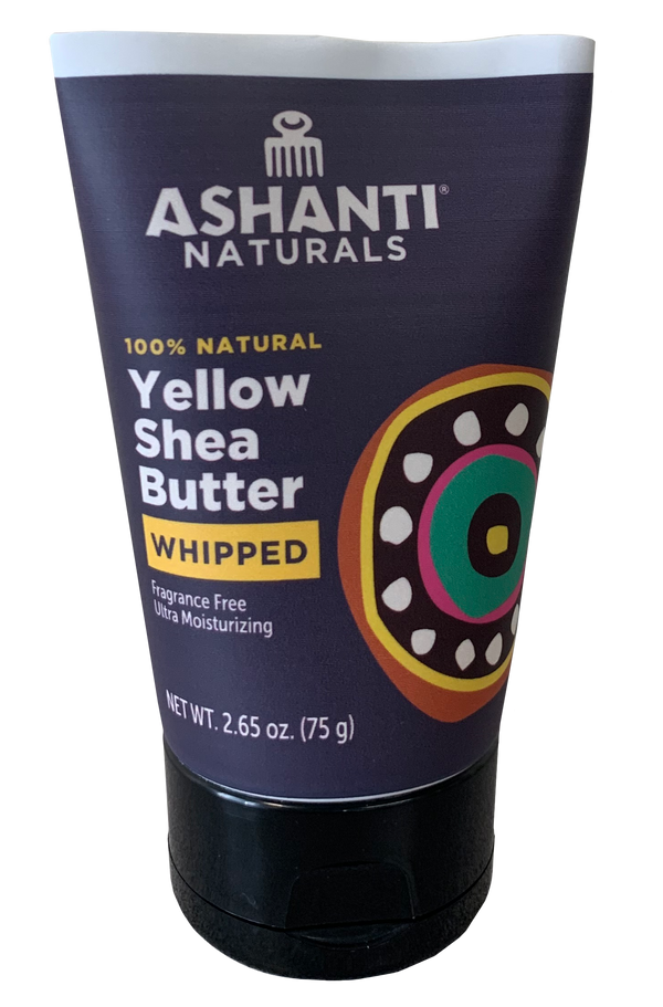 ASHANTI - 100% CREAMY YELLOW AFRICAN WHIPPED SHEA BUTTER TUBE 2.65OZ