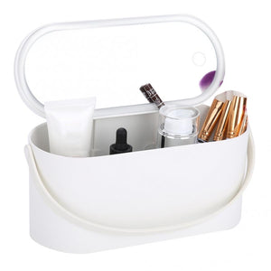 PORTABLE MAKEUP CASE WITH LED LIGHTED MIRROR - PERFECT FOR TAKING YOUR BEAUTY ROUTINE WITH YOU ON THE GO