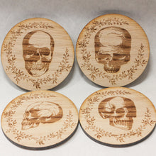 Load image into Gallery viewer, Solid Oak Skull Coaster Set